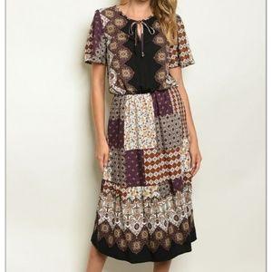 Dresses & Skirts - Wine Mixed Media Patchwork Dress